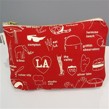Red Zipped Map Pouch